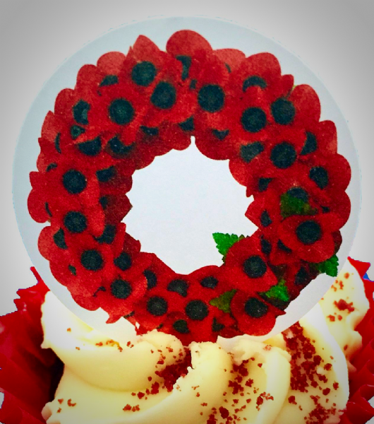 Edible cake toppers decoration - Poppy Wreath